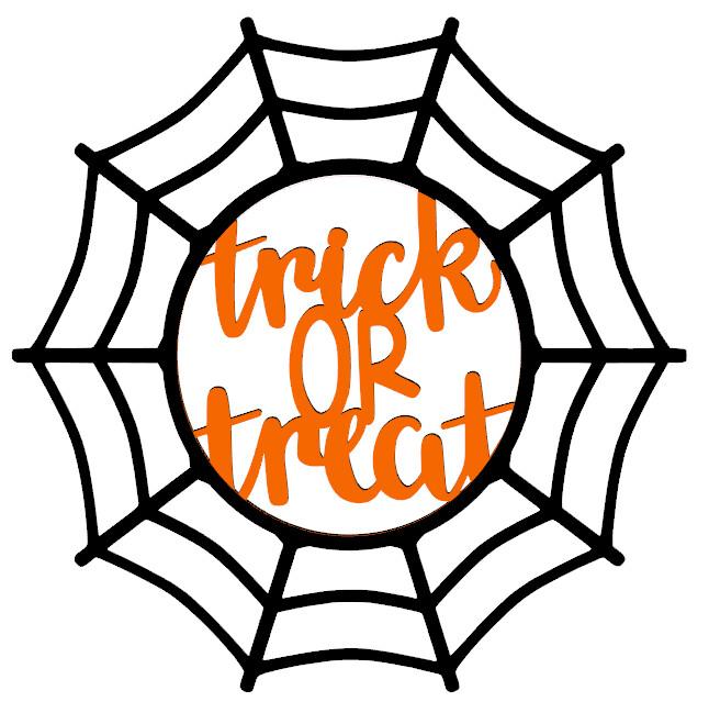 Spider Web Trick or Treat Wood Door Hanger