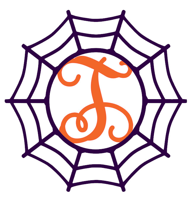 Halloween Spider Web Initial Wood Door Hanger