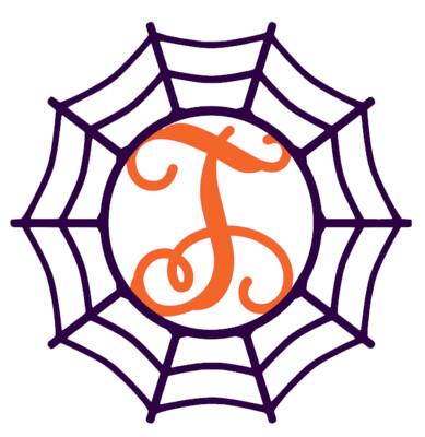 Halloween Spider Web Initial Wood Door Hanger