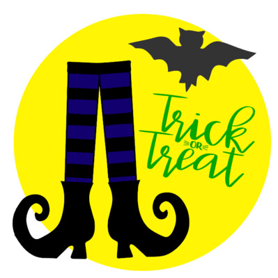 Witches Feet Trick or Treat Round Wood Sign