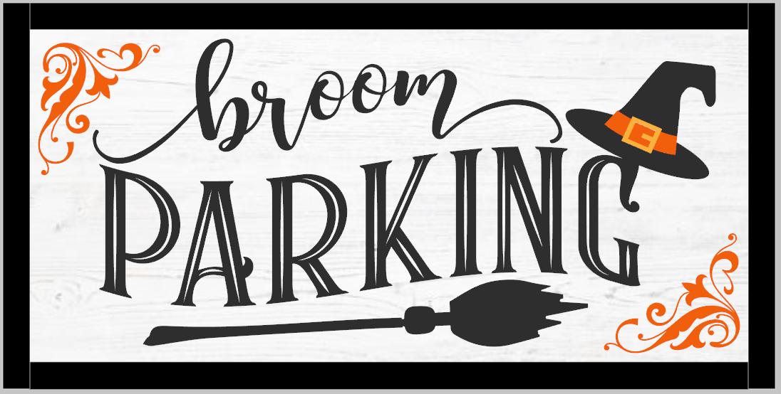 Broom Parking Wood Framed Sign