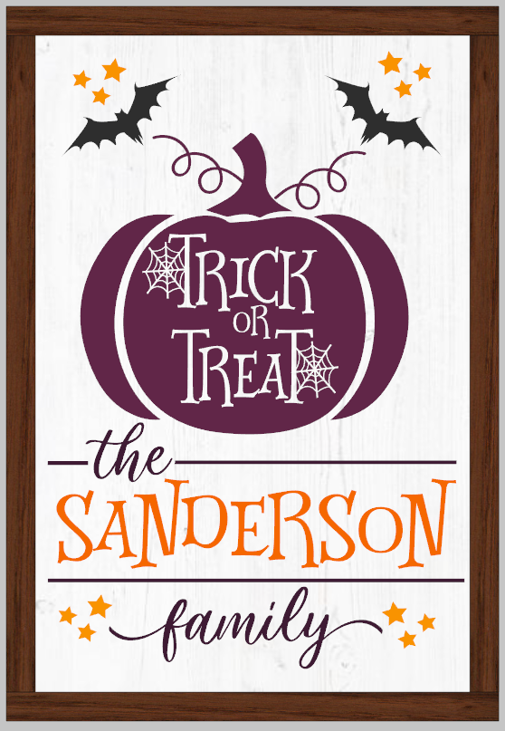 Personalized Trick or Treat Wood framed sign