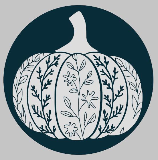 Ornamental Pumpkin Round Wood Sign