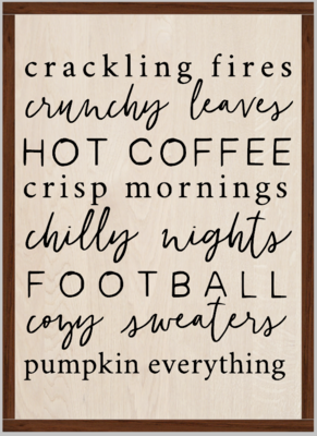 Autumn Fall Pumpkin Fire Subway Word Art (framed)