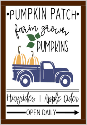 Pumpkin Patch, Hayrides, Apple Cider Vintage truck (framed)