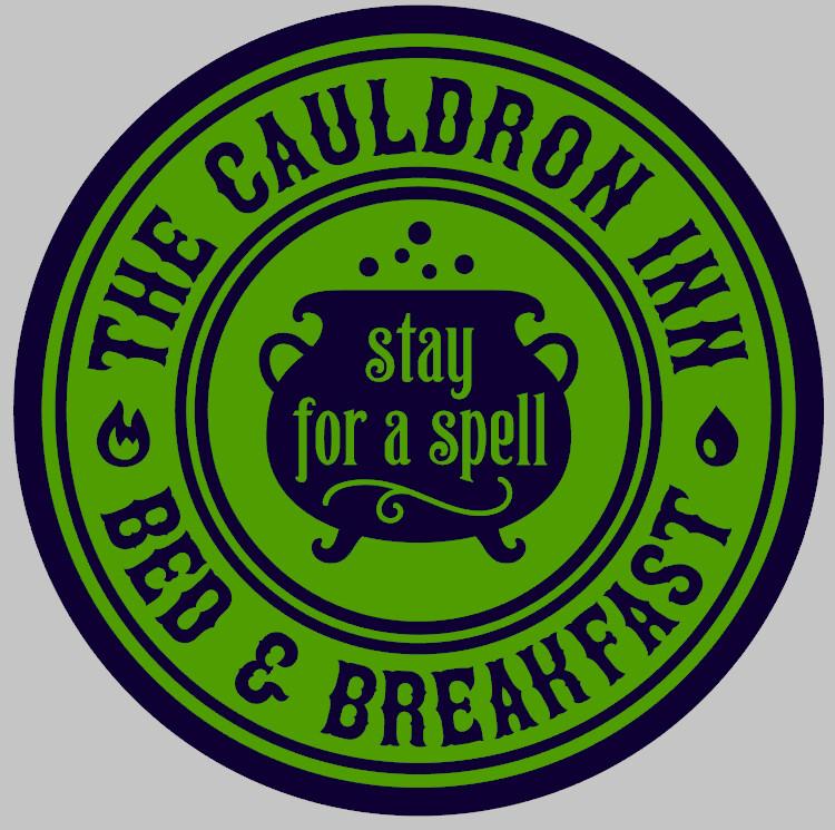 The Cauldron Inn Round Wood Sign
