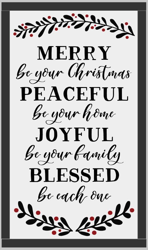 Merry Peaceful Joyful Blessed (framed)