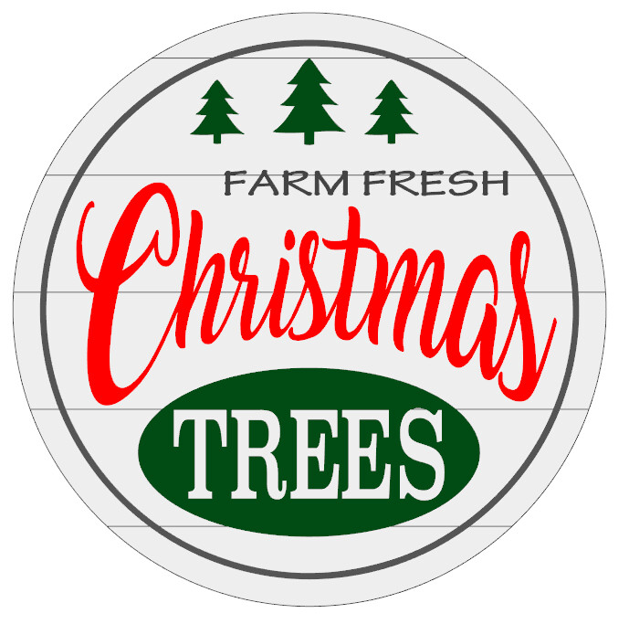 Round Farm Fresh Christmas Trees with Shiplap look