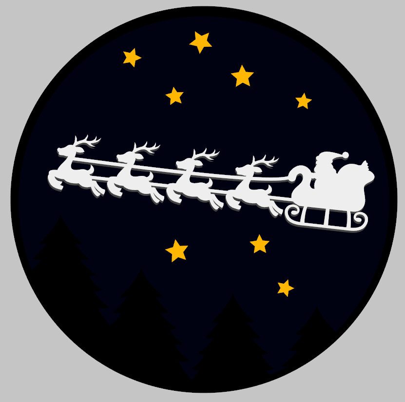 Christmas Night Sky with 3D Santa and Stars