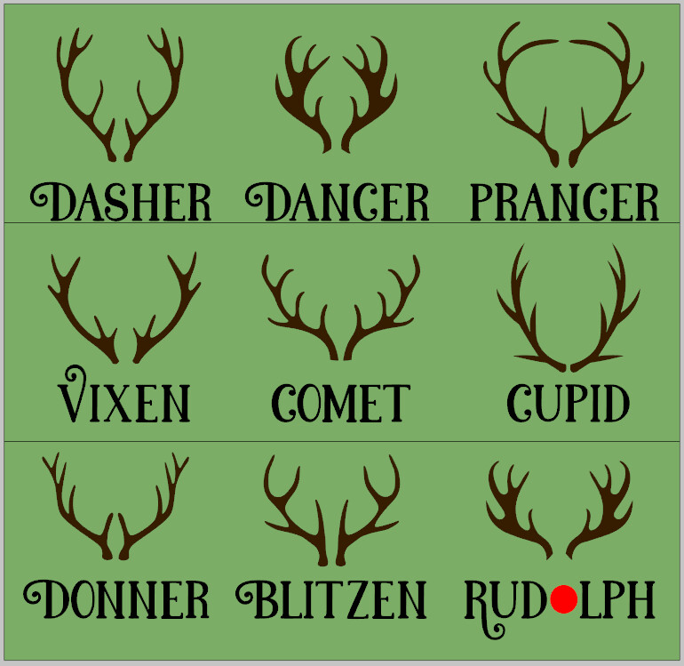 Reindeer Names with 3D Antlers