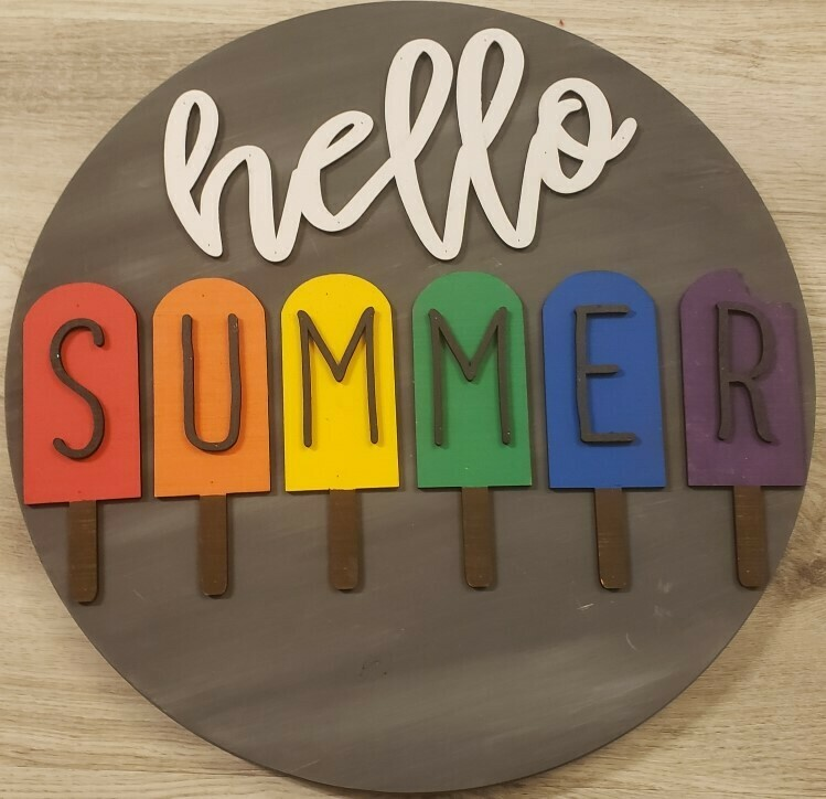 """Hello Summer Popsicle 3D 18"""" Round Wood Sign"""