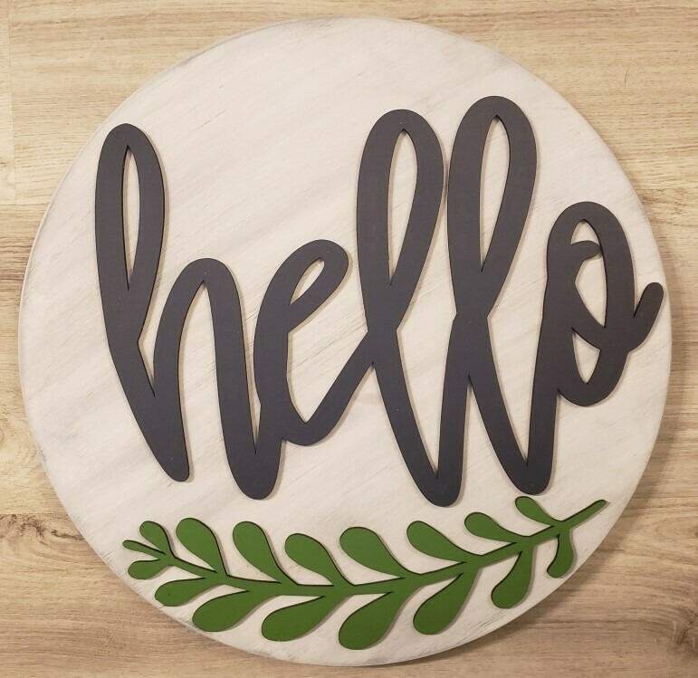 "Hello 3D 18"" Round Wood Sign"