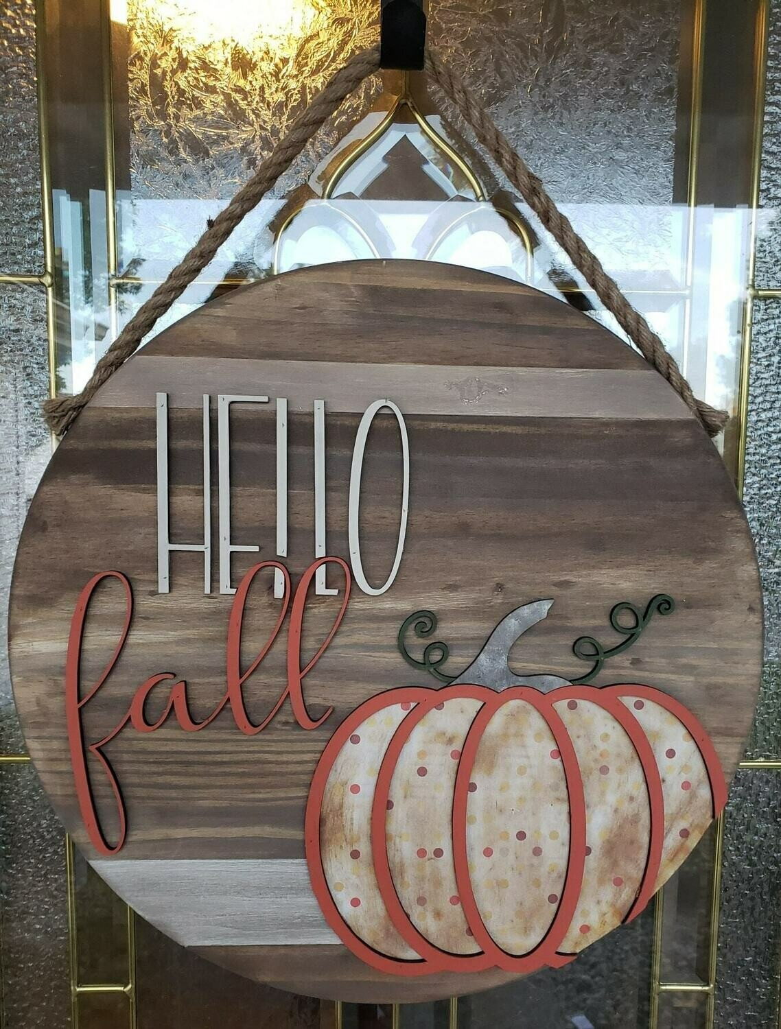 "Hello Fall 3D Pumpkin 18""Round"