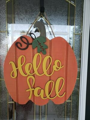 Rustic Pumpkin Wood Door Hanger