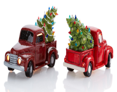Ceramic Lighted Vintage Truck with Tree