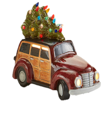 Ceramic Woody Wagon with Light Up Tree