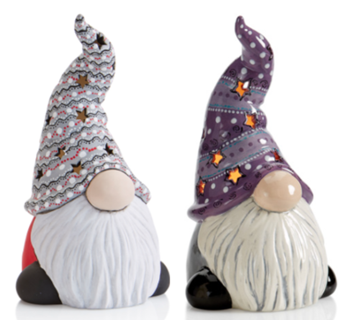 Ceramic Tall Hatted Gnome Lantern