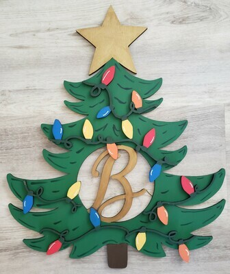 Christmas Tree Door Hanger Personalized with Single Initial