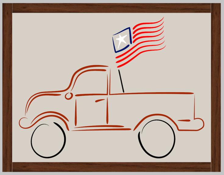 Flag in Red Truck Framed