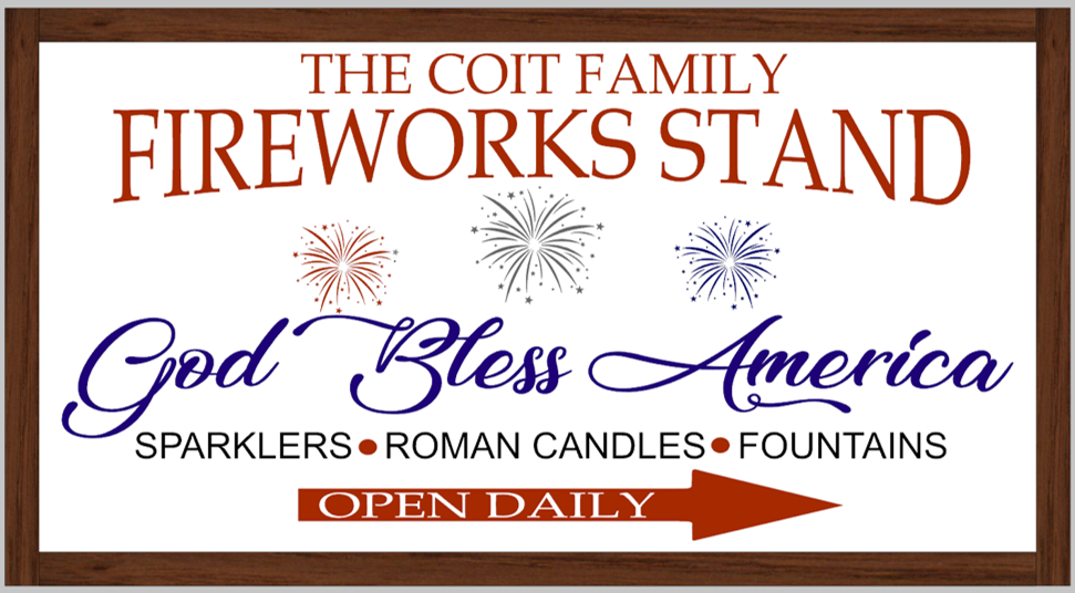 Family Personalized Fireworks Stand