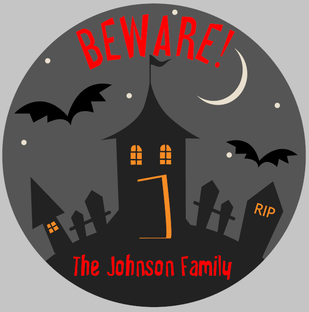 Round Personalized Haunted House