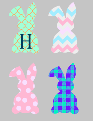 Tall Bunny with 3D Wood Letter