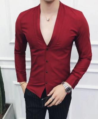 Camisa Lisa de Cuello V Slim Fit Hombre Korean Style