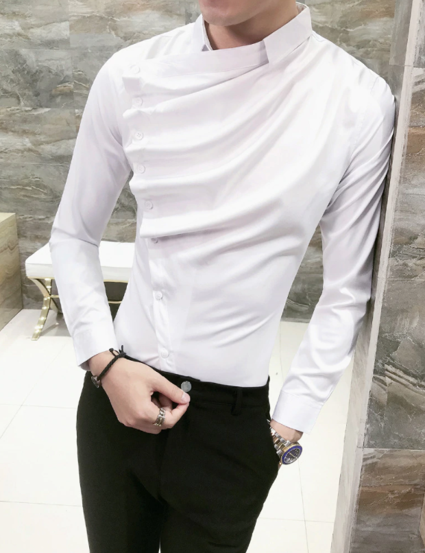 Camisa Lisa de Pliegue Frontal Slim Fit Hombre Korean Style