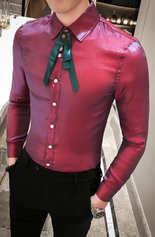 Camisa Lisa Estilo Britanico Slim Fit Hombre Korean Style