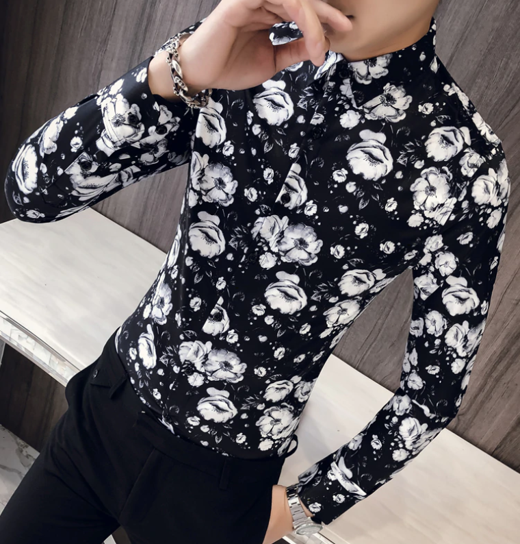 Camisa Floral Lisa Slim Fit Hombre Korean Style