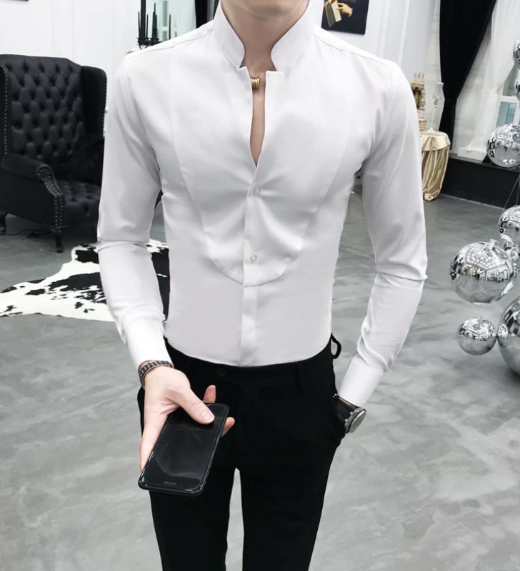 Camisa Lisa de Cuello Levantado Slim Fit Hombre Korean Style
