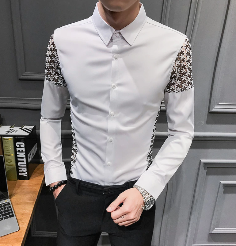 Camisa Lisa con encaje Patchwork Slim Fit Hombre Korean Style