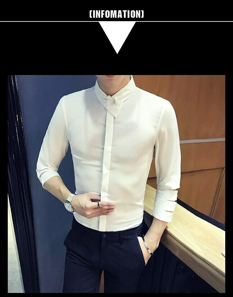 Camisa Manga 3/4 Slim Fit Hombre Korean Style