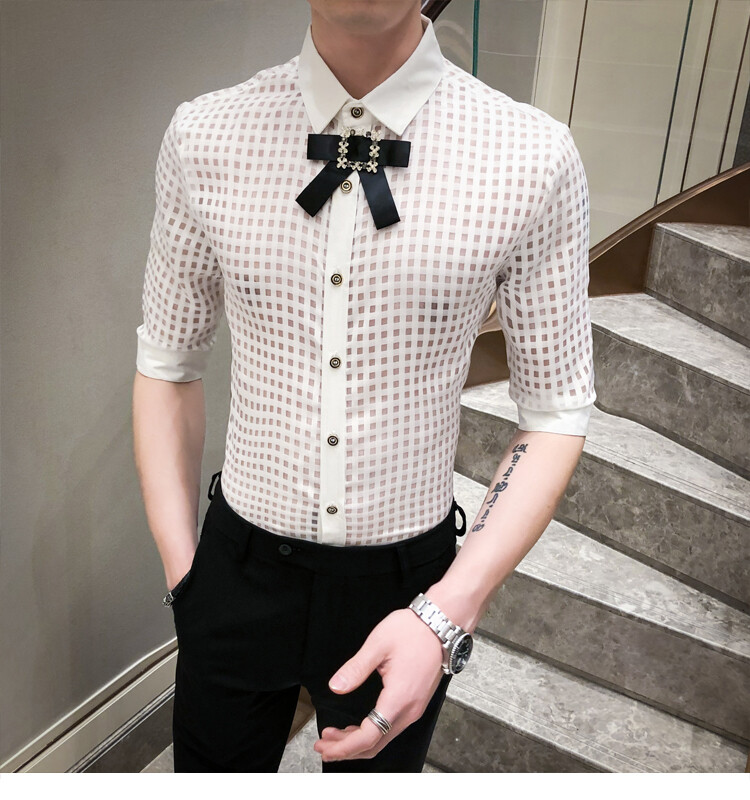 Camisa Transparente Manga 3/4 Slim Fit Hombre Korean Style