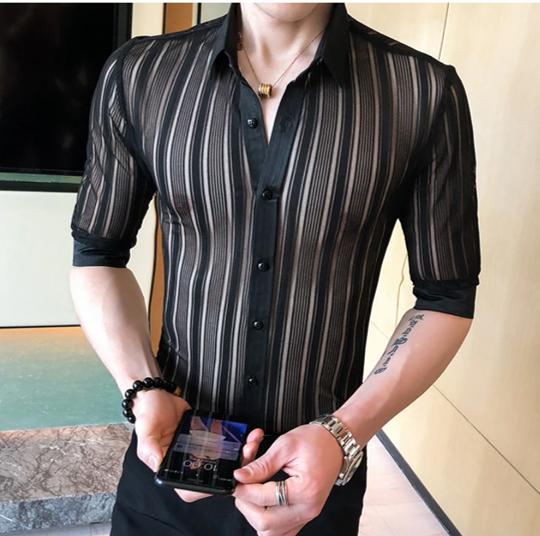 Camisa Transparente Manga 3/4 Slim Fit Hombre Korean Style