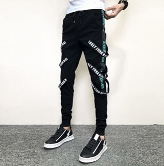 Pants SweatPants Irregular Liso  Slim Fit Hombre Korean Style