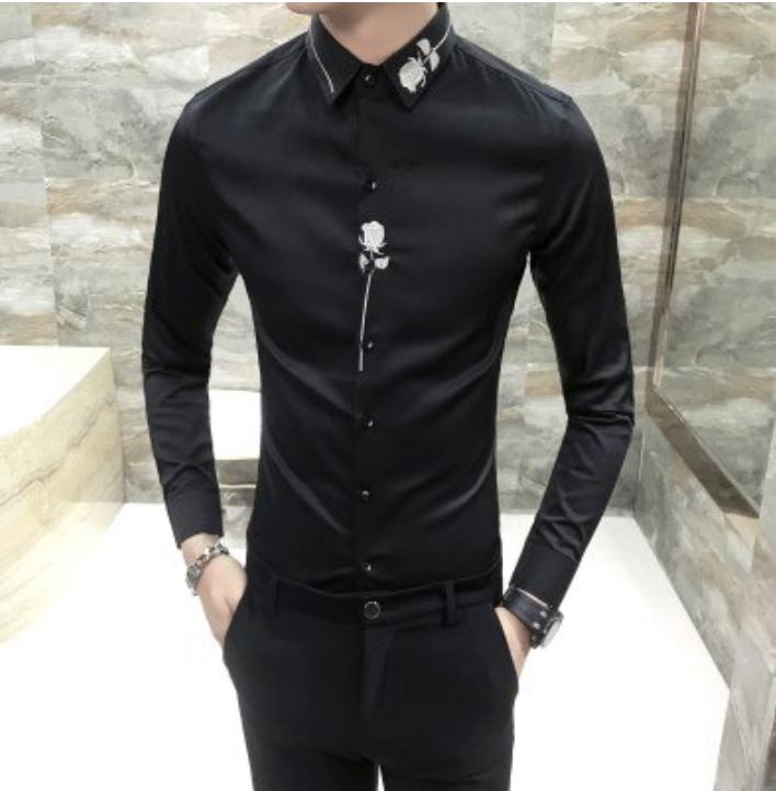 Camisa Slim Fit con Bordado Hombre Korean Style