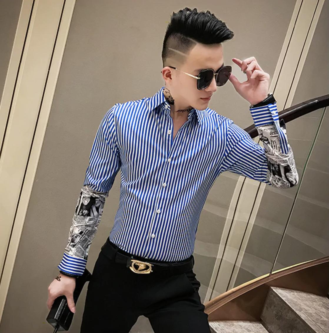 Camisa de Manga Estampada Slim Fit Hombre Korean Style