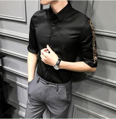 Camisa de Manga 3/4 Patchwork de Leopardo  Slim Fit Hombre Korean Style