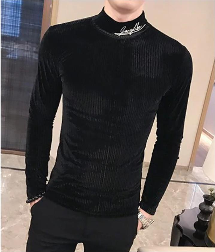 Camisa Estilo Britanico de Cuello Alto Slim Fit Hombre Korean Style