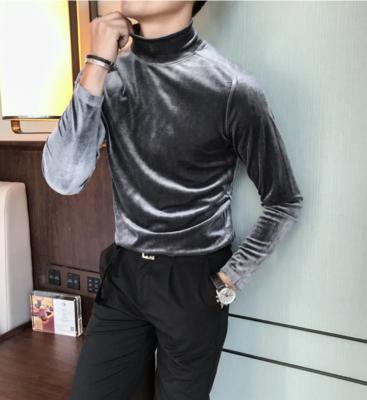 Camisa de Terciopelo con Cuello Alto Slim Fit Hombre Korean Style