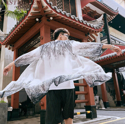 Kimono Cardigan Streetwear Hombre Korean Style