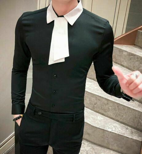 Camisa Lisa con Mascada Slim Fit Hombre Korean Style