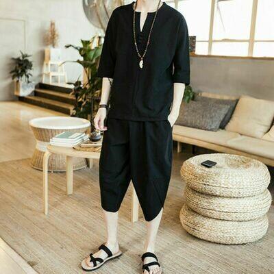 Camiseta de manga corta de lino y algodón para hombre  Korean Style