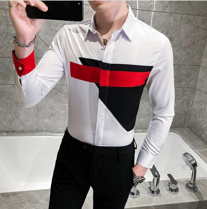 Camisa Estampado Blanca Lisa Slim Fit Hombre Korean Style