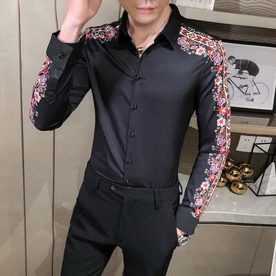 Camisa Flores Manga Lisa Slim Fit Hombre Korean Style