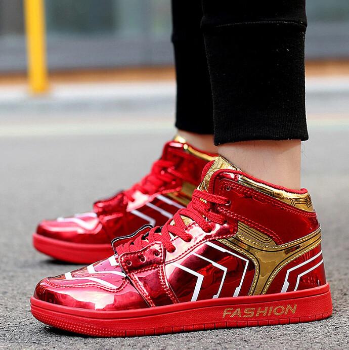 X Brand Fashion Red Glitter Sneakers Men