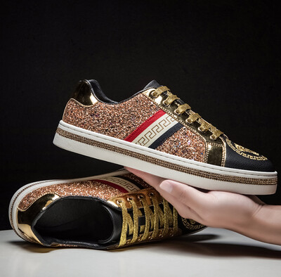 Brand Hot Sale Gold Embroidered Shoes Mens