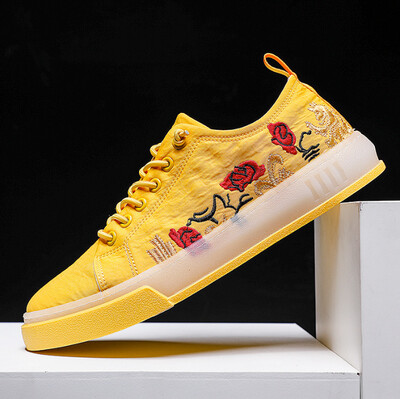 Mens Trainers Shoes Canvas Fashion Flowers Embroidered
