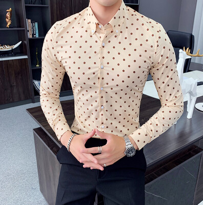 Polka Dot Casual Men Shirt Slim Fit Fashion